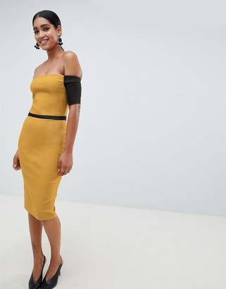 Vesper off shoulder pencil dress with contrast sleeves-Yellow