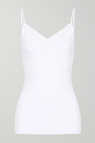 Thumbnail for your product : Hanro Satin-trimmed Mercerized Cotton Camisole - White
