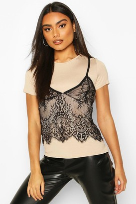 boohoo 2 In 1 T-Shirt & Lace Cami