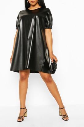 boohoo Plus Puff Sleeve Faux Leather Dress