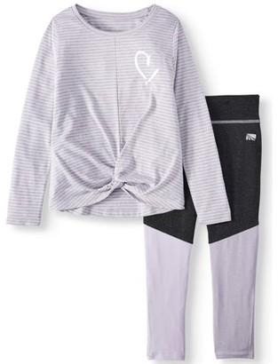 Marika Long Sleeve Microstripe Top and leggings, 2-Piece Active Set (Little Girls & Big Girls)