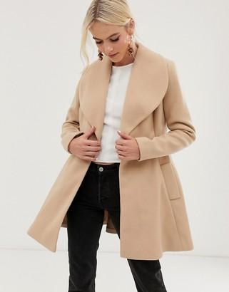 Asos Design DESIGN skater belted coat-Brown