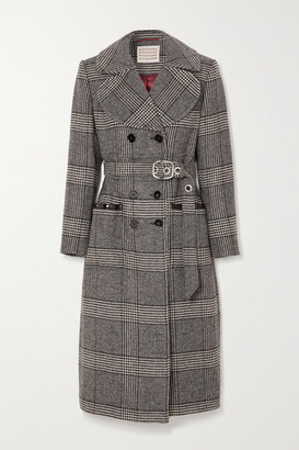 ALEXACHUNG Penelope Faux Patent Leather-trimmed Prince Of Wales Checked Tweed Coat - Gray