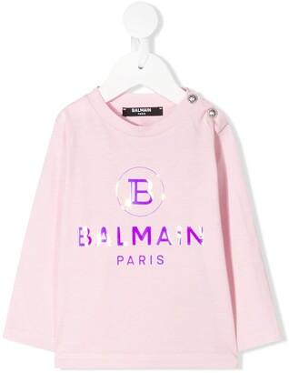 Balmain Kids reflective logo T-shirt