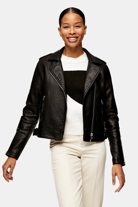 Topshop Womens Black Pu Biker Jacket - Black