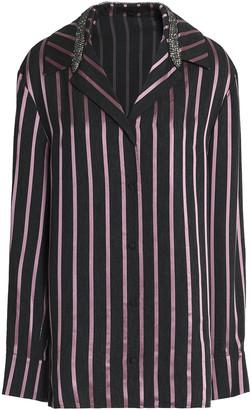 Alexander Wang Crystal-embellished Striped Satin-trimmed Chambray Shirt