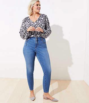 LOFT Plus High Waist Slim Pocket Skinny Jeans in Original Mid Indigo Wash