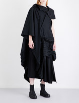 Yohji Yamamoto Pleated asymmetric wool-blend dress