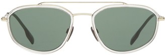 Burberry Eyewear Gold-plated Geometric Navigator Sunglasses