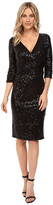 NUE by Shani Cross-Over V-Neckline Sequin Knit Dress