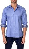 Jared Lang Men's Trim Fit Dot Print Sport Shirt