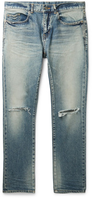 Saint Laurent Skinny-Fit Distressed Stretch-Denim Jeans