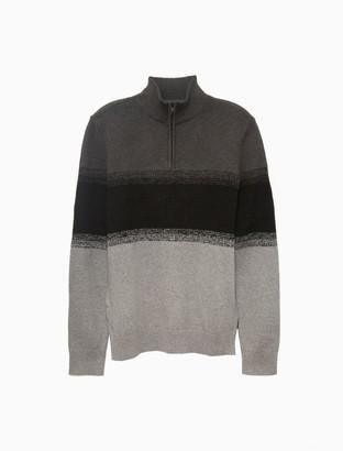 Calvin Klein Textured Ombre Block Stripe 1/4 Zip Sweater