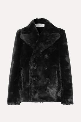 Saint Laurent Double-breasted Faux Fur Jacket - Black