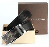 K&S KS Elegant Men's Adjustable Leather Auto Lock Steel Buckle Belt + Gift Box