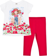 Mayoral White and Red Farmer Tee and Leggings Set