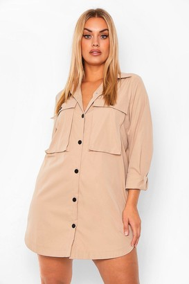 boohoo Plus Pocket Front Extreme Oversized Shirt Dress