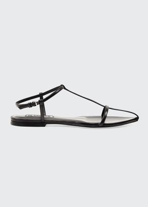 Jil Sander T-Strap Leather Flat Sandals