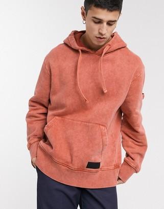 Topman oversized hoodie in washed orange