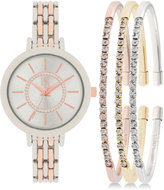 INC International Concepts Women's Two-Tone Bracelet Watch 34mm and Crystal Accented Bracelet Set, Only at Macy's