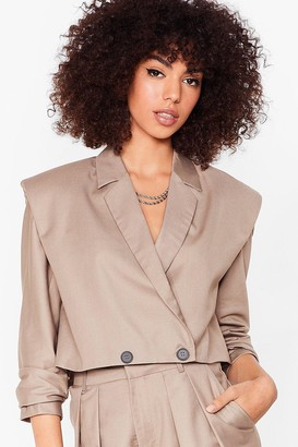 Nasty Gal Womens Down to Business Shoulder Pad Cropped Blazer - Stone
