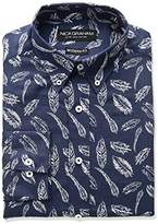 Nick Graham Men's Feather Print Button-Down Collar Dress Shirt