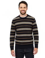 Maine New England Big And Tall Yellow Striped Crew Neck Jumper