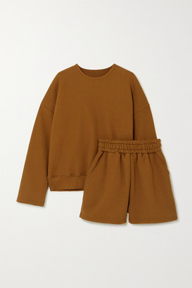 Frankie Shop Jamie Cotton-jersey Sweatshirt And Shorts Set - Brown
