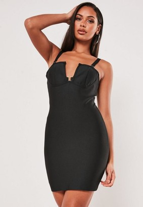 Missguided Premium Black Bandage Cami V Bar Clasp Mini Dress