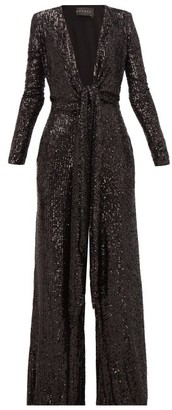Dundas Plunge-front Sequinned Jumpsuit - Womens - Black