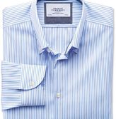 Charles Tyrwhitt Classic fit button-down collar non-iron business casual white and sky blue striped shirt