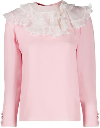 Valentino Pre Owned 2000 Ruffle-Neck Blouse