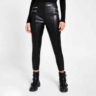 River Island Black faux leather zip front leggings