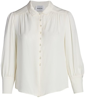 Baacal, Plus Size Lamar Pearl Button Silk Blouse