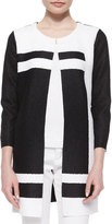 Berek Graphic Long Crinkle Jacket, Black/White, Petite