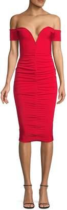 Missguided Ruched V-Plunge Bardot Dress