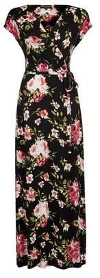 Dorothy Perkins Womens Black Floral Print Wrap Jersey Maxi Dress, Black