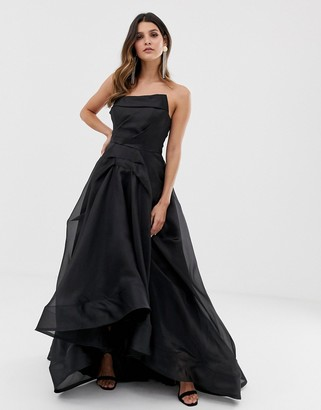 Bariano full maxi dress with organza bust detail in black