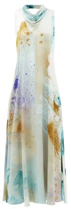 Roksanda Leesha Watercolour-print Silk-charmeuse Maxi Dress - Gold