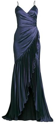 Flor Et. Al Sharona Pleated Asymmetrical-Hem Gown