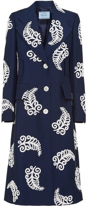 Prada Embroidered Single-Breasted Coat