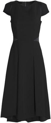 Amanda Wakeley Pleated Two-tone Stretch-ponte Midi Dress