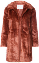 Frame faux-fur fitted coat