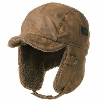 Jeff & Aimy Waterproof Winter Faux Leather Aviator Pilot Cap Earflap Hunting Trapper Hat