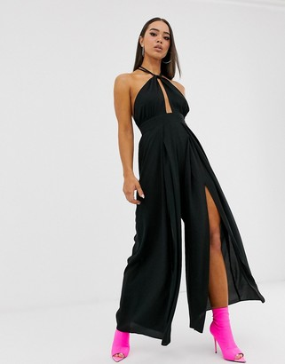 Parallel Lines halter neck jumpsuit with keyhole and cross back detail in black