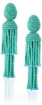 Oscar de la Renta Celeste Two-Tiered Short Tassel Earrings