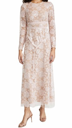 Self-Portrait Women's Rose Lace Maxi Dress Pink XL