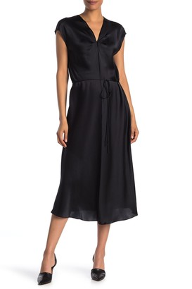 Vince V-Neck Silk Midi Dress