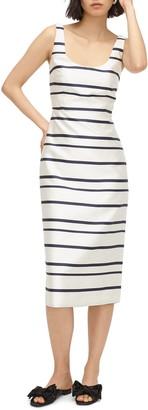 J.Crew Jacquard Stripe Scoop Neck Midi Dress