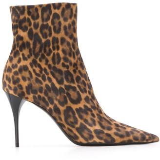Saint Laurent Leopard Print 90mm Ankle Boots